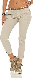 94ec9a0229fff Zarmexx Femmes étirer Un Pantalon Slim avec Ceinture Chino Skinny Pantalons  Jeggings de Couleurs