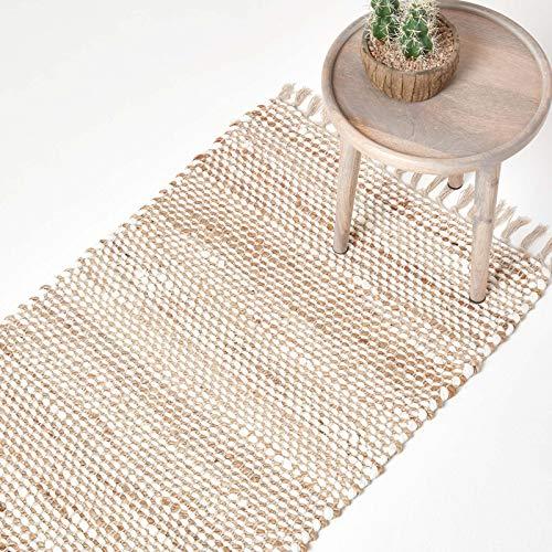 Homescapes Teppichläufer Horizon, handgewebt aus 100% Hanf, 66 x 200 cm, Flickenteppich mit Fischgräten-Muster und Fransen, Creme-Natur