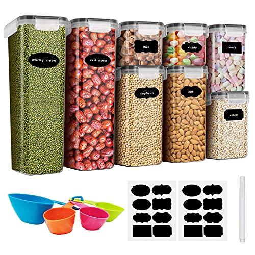Baozun Tarros de almacenamiento para cereales, caja de almacenamiento para cocina, herméticos, de plástico, con tapa, tarros para almacenar pasta, cereales, arroz, harina, 8 unidades, total 14 L