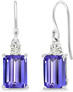 10K White Gold Dangle Earrings Emerald Cut Blue Tanzanite and Forever Classic Created Moissanite 0.12ct (DEW) by Charles & Colvard