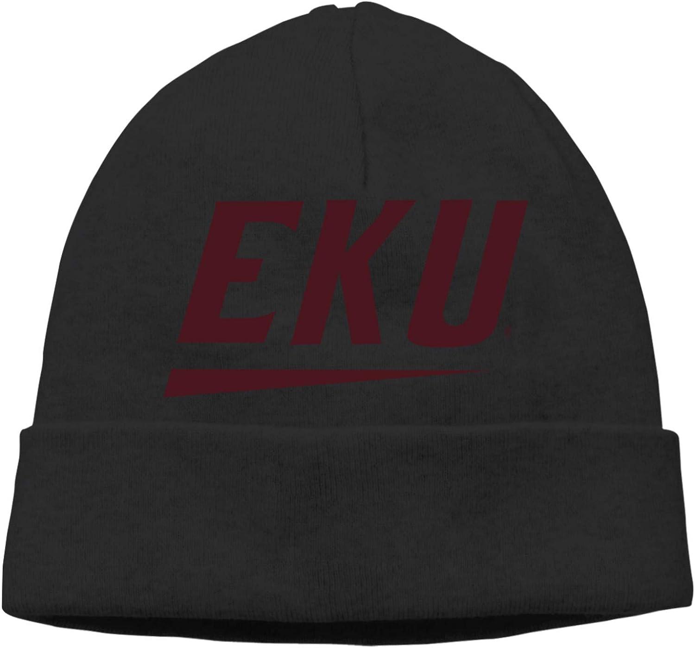 Eastern Kentucky University Logo Fashion Beanie Caps Casual Cap Man Women Hats Knitting Hat Warm Hedging Cap Black