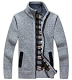 LemonGirl Mens Casual Slim Full Zip Knitted Cardigan Sweater with Pocked Gray