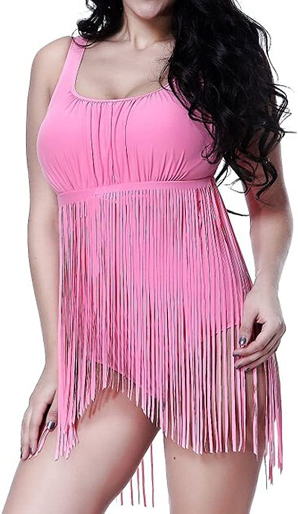 Hellomamma Womens Retro Plus Size Bikini Sets High Waist Braided Tassels One-Piece Swimwear