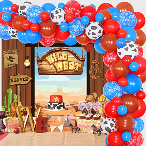 Western Cowboy Party Decoración Salvaje Oeste Tema Suministros de Fiesta Globos de Vaquero Arco Bandana Globos Oeste Telón de fondo para Niño Niña Caballo Tema