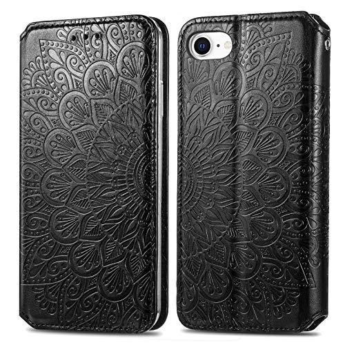 Trugox Cover Portafoglio per iPhone SE 2020 / iPhone 8 / iPhone 6 in Pelle Fiore Custodia a Libro con Supporto Antiurto Case Cover Wallet per Apple iPhone SE 2020/8/7/6/6S - TRSDA140021 Nero