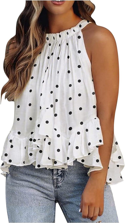 Summer Halter Tank Tops for Women Solid/Floral/Tie Dye Ruffles Hem Sleeveless Shirt Flowy Loose Blouse Vest Cami Shirts