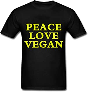 HOTHK Men's Short Sleeve T-Shirt Peace Love Vegan