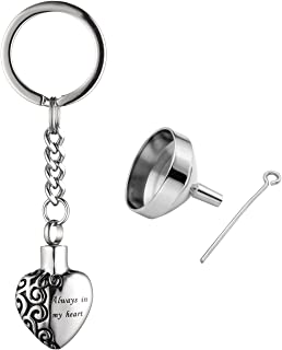 Personalized Master Free Engraving Custom Stainless Steel Urn Keychain Pet Dog Paw Heart Pendant Ashes Keepsake Memorial Cremation Jewelry with Funnel Kit&Gift Box