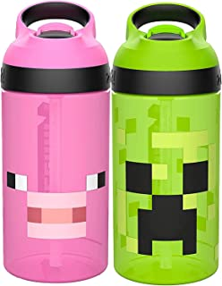 Zak Designs Minecraft Kids Water Bottle with Straw and Built in Carrying Loop Set, Made of Plastic, Leak-Proof Water Bottl...