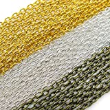 TOAOB 49 Feet Chains for Necklace Cable Chain Link 2mm Gold Silver Bronze Tone Set Jewelry Making Chains...