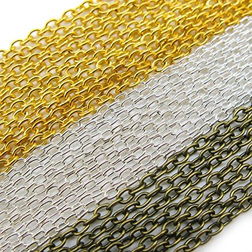 TOAOB 15m Croix Ovale en Métal Câble Lien Chaîne Fermoirs Or Argent Bronze pour Collier Bricolage Fabrication de Bijoux Bracelet Breloques Artisanat et Décoration Pendentif