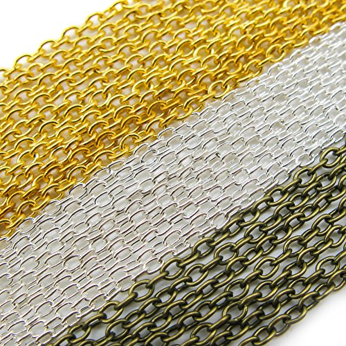 TOAOB Oval Cross Cable Link Chains 3x2mm for Necklace Accessories DIY Jewelry Making Gold Silver Bronze in Colour Pack of 15m