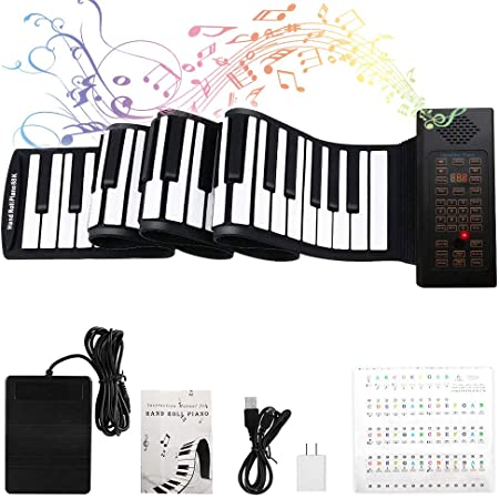 BGJOY Portable Piano Keyboard Roll Up Piano Flexible Foldable Kids Practice 37 Keys Electronic Educationa Digital Music Piano Built-in Speaker Microphone Piano for Kids Beginner Boys Girls Gift
