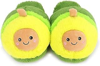Womens Novelty Slippers Cartoon Avocado Plush Slippers Warm Winter Slippers Bedroom Slippers 4-8