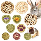 OVMKOV Bunny Chew Toys for Teeth, Bunny Toys for Rabbits, Rabbit Toys Treats for Bunny, 10PCS Natural Timothy Grass Small Animal Molar Grass Cake and Ball for Rabbit, Chinchilla, Guinea Pig, Hamster