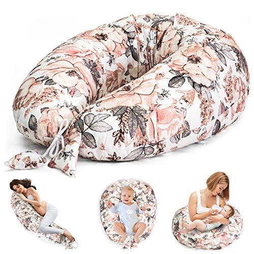 Stillkissen Schwangerschaftskissen zum Schlafen Seitenschläferkissen - Lagerungskissen für Baby XXL Pregnancy Pillow Oeko-Tex Wilde Rose auf Weiß