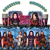 Descendants 3 Birthday Party Supplies Pack For 16 Guests: 16 Stickers, 16 Dessert Plates, 16 Beverage Napkins, 16 Cups, and 1 Plastic Table Cover; Descendants 3 Party Supplies, Descendants Birthday Party Supplies