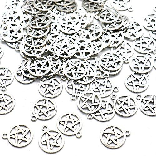 Ergonflow 100 Silver Tone Pentagram Charms Pendants (20x16mm)