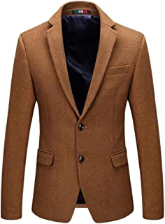 Mens Slim Jackets 2 Button Wool Blend Solid Color Dress Blazer Lapel Sport Coat