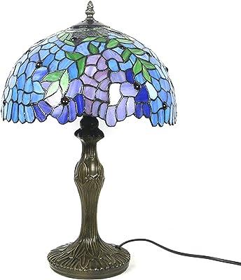 Tiffany Style Lampes de table, Lampe de lecture de chevet de verre teinté, Lampe for salon Chambre à coucher Bibliothèque Bibliothèque Table basse, Abat-jour de 12 pouces LINGZHIGAN