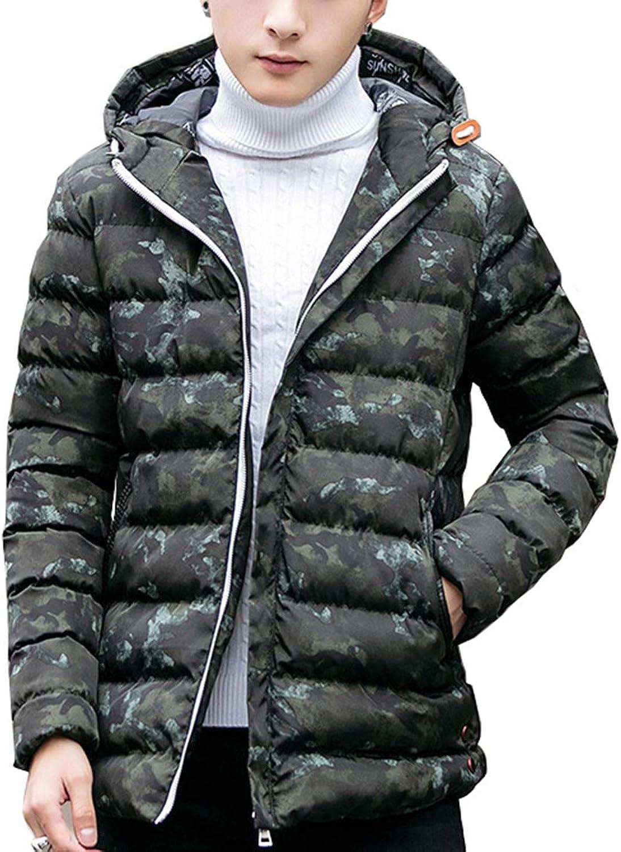 Seaoeey Mens Winter Hooded Coat Slim Comfort Water-Resistant Down Jacket Cotton outerwaer