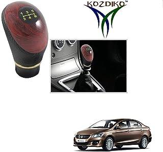 Kozdiko Leatherette Wooden Finished Gear Knob Black Car Gear Shift knob for Maruti Suzuki Ciaz