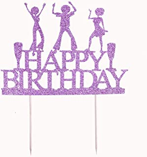 YUINYO Crown Gold Glitter Happy Birthday Cake topper - Forever 18 Party Favors - 18th Birthday Party Decoration-18th Anniv...