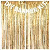 make your own banner kit - DIY Banner Kit - White Letters & Symbols w/Gold Tinsel Backdrop - Customize Your Birthday Party, Wedding Party, Graduation Party, Bachelorette Party and Gender Reveal (Letters A-Z & Numbers 0-9)