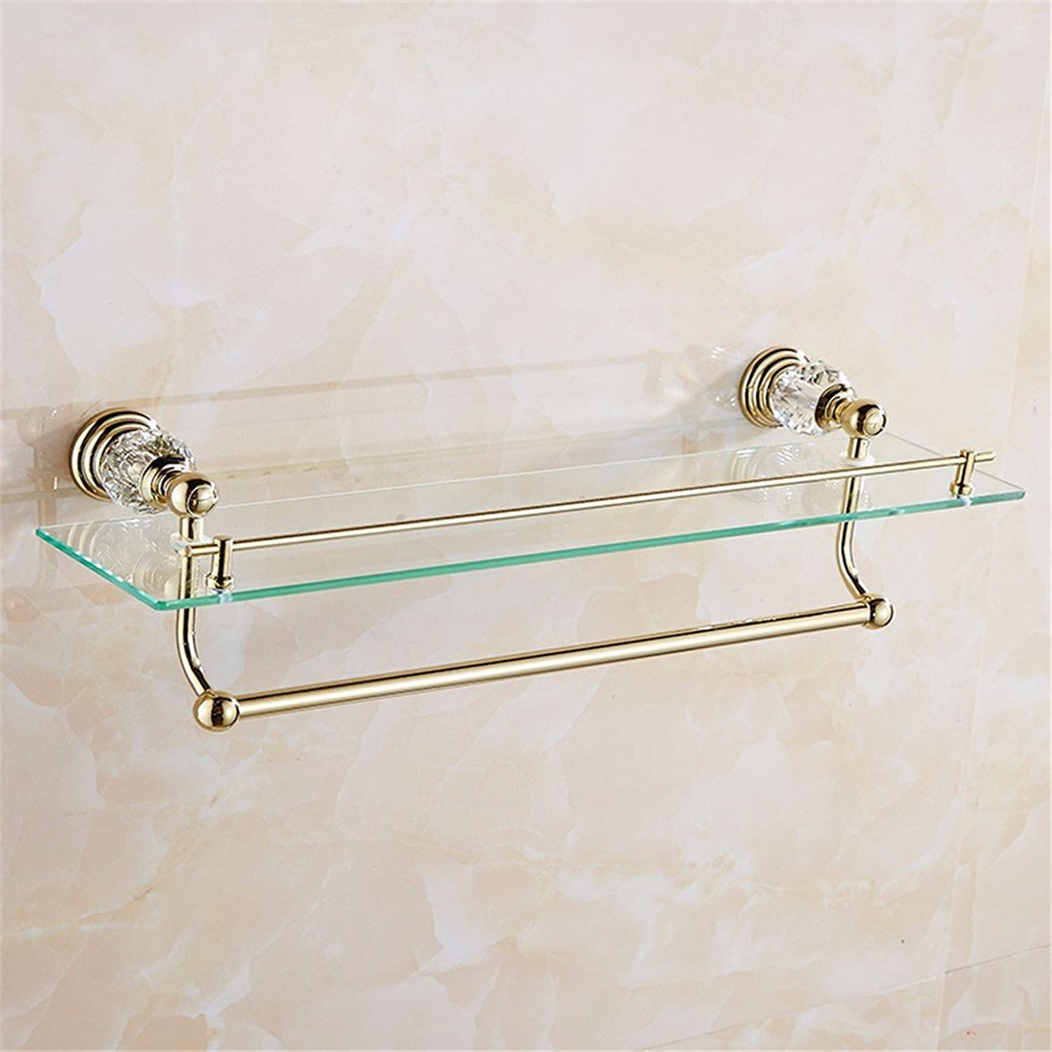 LAONA European style stainless steel, golden crystal base, bathroom pendant set, single and double bar toothbrush holder,Rack 1