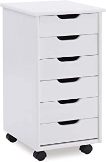 Linon Home Decor Products Corinne Six Drawer Storage, White Wash Rolling Cart