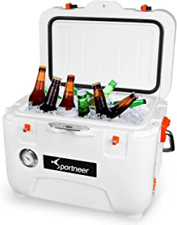 Sportneer 25 Quart Cooler with Thermometer, Zero Leakage and Extra-Thick Wall for Unmatched Ice Retention and Impact Resistant, with Built-in Bottle Opener