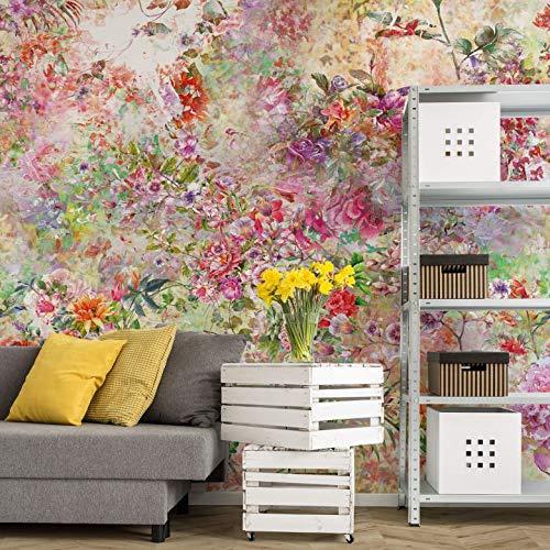 Fotobehang Wild Flowers 384 x 350 cm (bxh) | Hoogwaardige Kwaliteit Vliesbehang | Eenvoudig te Plakken | Bloemen Behang