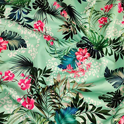 FS471_1 grüner Hawaii tropischer Leopard | Scuba Schneiderstoff | Meterware | Polyester Elastan Soft Jersey Stretch Drape