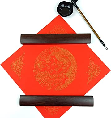 KYMY 1 Pair of Wooden Chinese Calligraphy Paperweight,Rosewood Paper Flat Paperweight,Calligraphy Painting/Writing/Drawing To