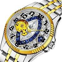 時計、機械式時計 メンズウォッチクラシックスタイルのメカニカルウォッチスケルトンステンレススチールタイムレスデザインメカニ (ゴールド)-233. ブルーサファイアとホワイトダイヤモンドのキラキラデザイン