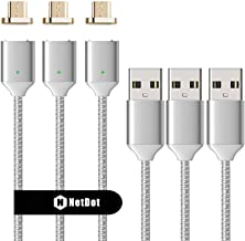 NetDot 3 Pack Upgraded 1m/3.3ft Nylon Bradied USB Fast Charging Magnetic Micro USB Cable with LED Indicator Compatible with Android Device (3.3ft / 3 Pack Silver)