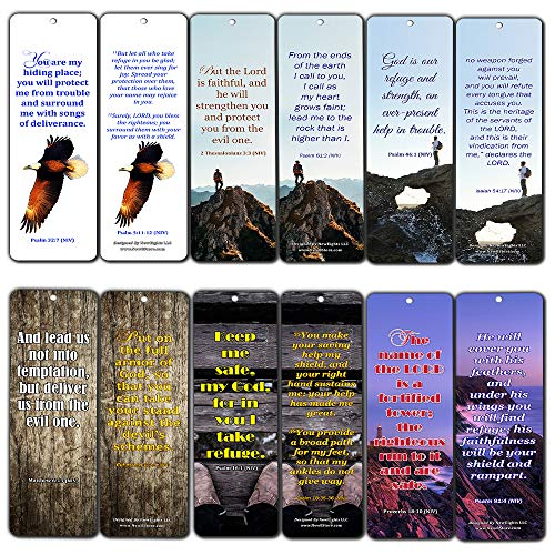 Powerful Scriptures for Protection Safety Bookmark Cards NIV (12-Pack)- Coronavirus Protection Bible Promises - Stay Home Stay Safe - Keep Calm Trust God - Christian Encouragement Gifts for Men Women