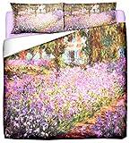 Deco Italia Set Copripiumino copriletto Monet Il Giardino dell'Artista 100% Cotone | Matrimoniale 250 x 240 cm + 2 federe 50 x 80 cm