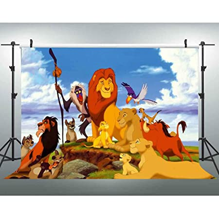 TJ Cartoon Lion King Jungle Safari Theme Photography Backdrops Forest Animal Kids Baby Shower First Birthday Party Decoration Photo Background Boy Cake Table Studio Booth Prpos Banner 7x5ft Vinyl