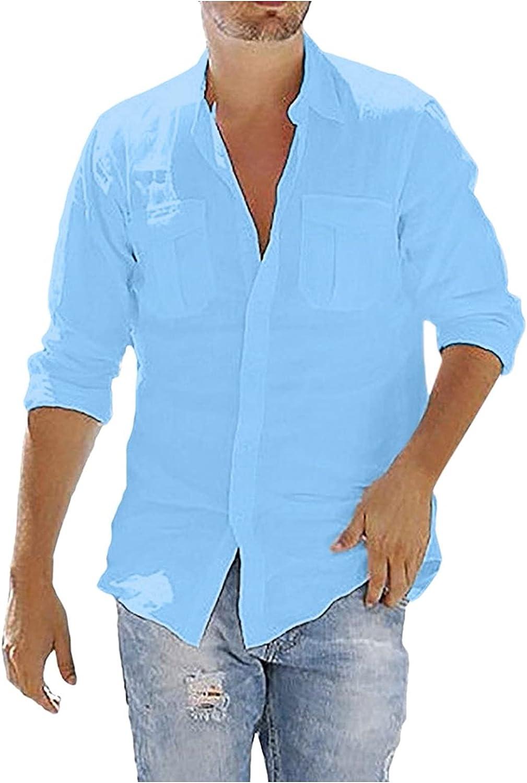DZQUY Men's Casual Cotton Linen Henley V Neck Shirts Long Sleeve Hippie Summer Button Down Beach T Shirts Tops Blouses