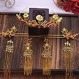 JUJ Vintage Haarschmuck Frauen S Chinesische Klassische Braut Handgemachte Tiara Haarnadel Schöne und edle goldene Pavillon Quaste Ohrringe