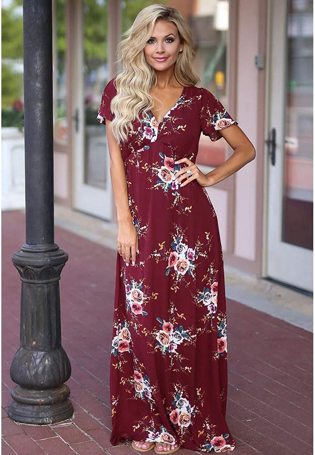 CARRY RESS, Europe and America, Comfortable, Soft, Long Dress, Long Skirt, Short Sleeve, Large Print Dress, Skirt (color   color2, Size   S)