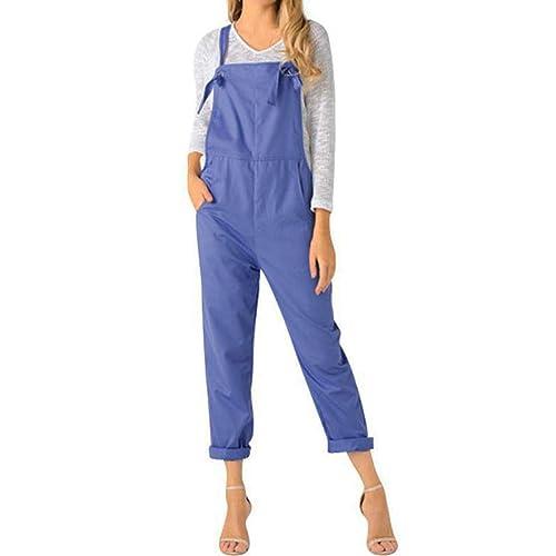 a4f89ca11a LVCBL Womens Loose Overalls Long Suspender Jumpsuit Bib Baggy Romper Pants  Plus Size 8 Colors