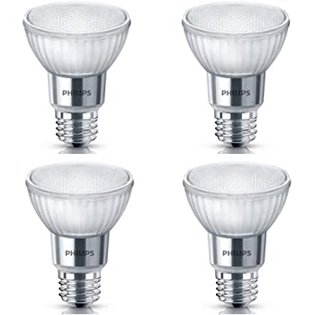 Philips LED 471169 50 Watt Equivalent Classic Glass PAR20 Dimmable LED Flood Light Bulb (4 Pack), 4-Pack, Bright White, 4 Count