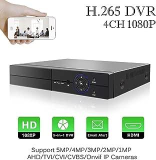 H.265 4 Canales 5M-N 1080P DVR Grabador de Video Digital Aottom 5 in 1 HVR Onvif NVR, AHD/TVI/CVI/IP/CVBS, HDMI, P2P, Onvif, Detección de Movimiento, Email Alarma, Android/iOS App (NO HDD)