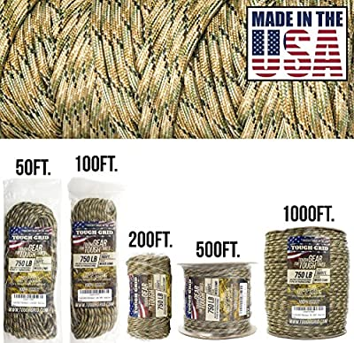 TOUGH-GRID 750lb Mixed Camo Paracord/Parachute Cord - Genuine Mil Spec Type IV 750lb Paracord Used by The US Military (MIl-C-5040-H) - 100% Nylon - Made in The USA. 50Ft. - Mixed Camo