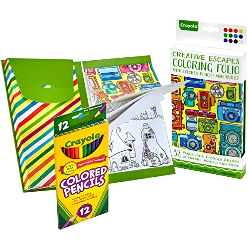 Crayola Creative Escapes Aged Up Coloring Folio with Pencils, Gift
