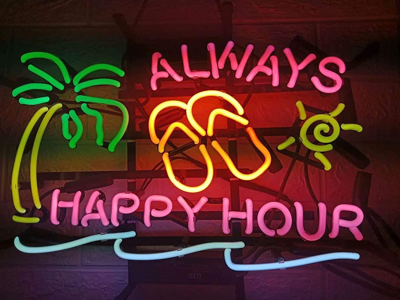 LDGJ Neon Signs for Wall Decor Always Happy Hour Sign Home Beer Bar Pub Recreation Room Lights Windows Glass Party