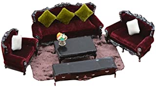 Set of 6 Mini Size Doll House Furniture-Accessories Living Room Series,Black