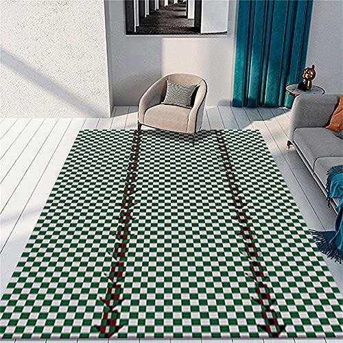 Alfombra Gaming Suelo Alfombra Pasillera Verde gris pequeño cuadrado habitación de los...
